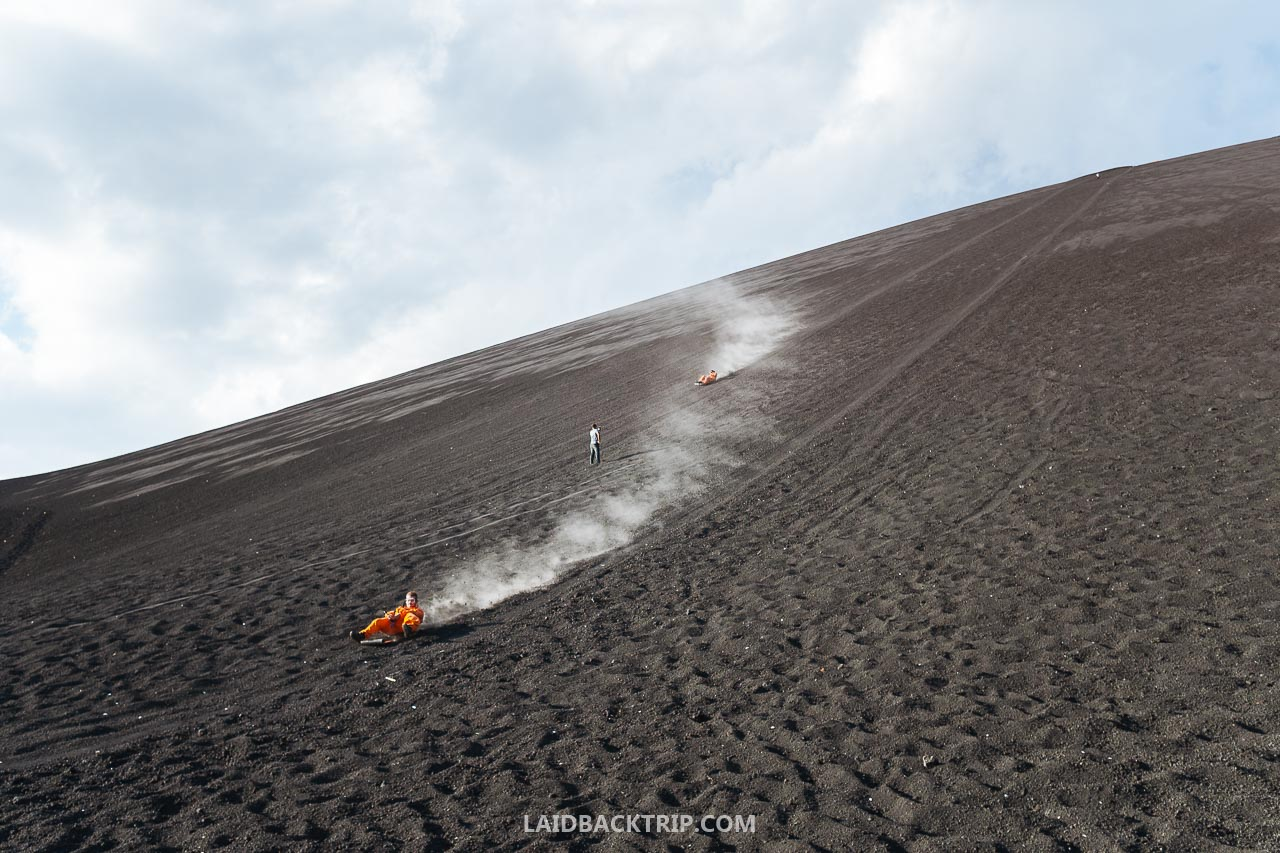 You need to take a guided tour to do the volcano boarding in Leon, Nicaragua.