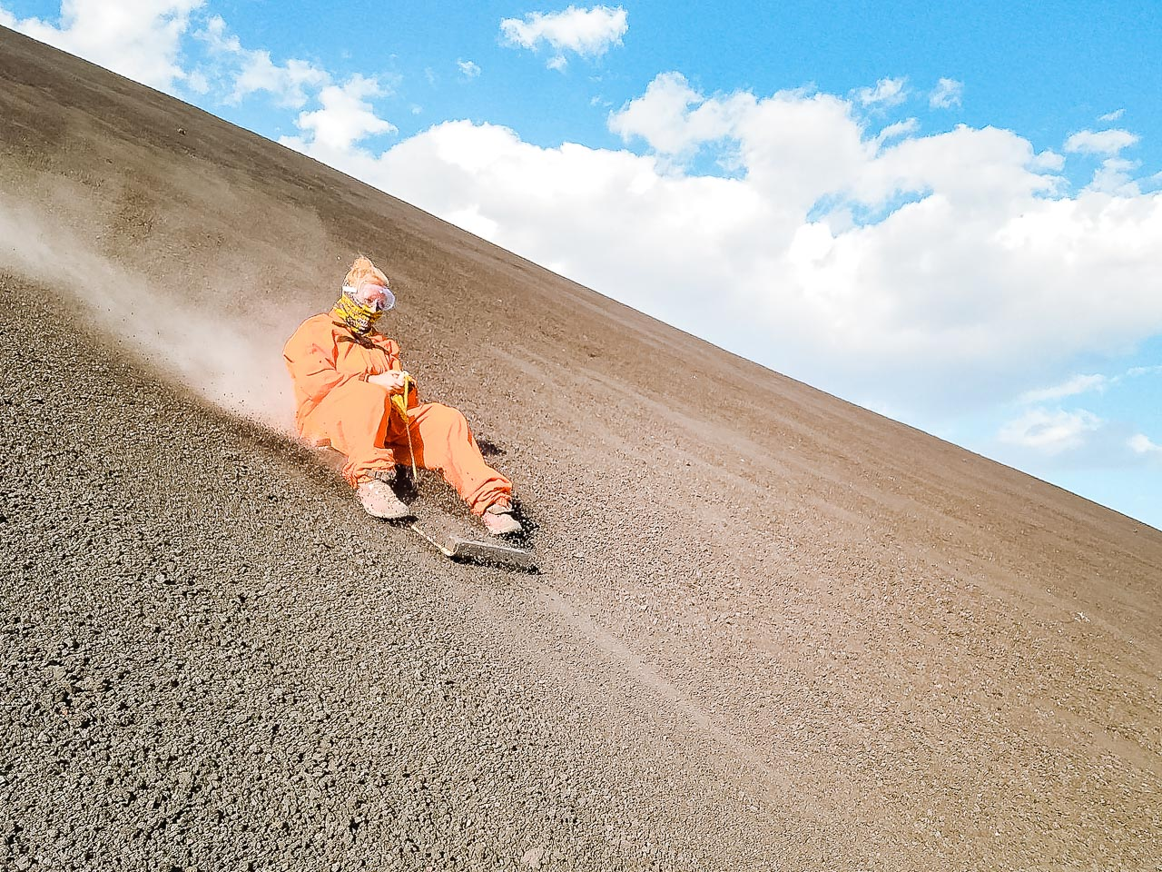 Volcano boarding is an adrenaline activity, and we enjoyed it very much.