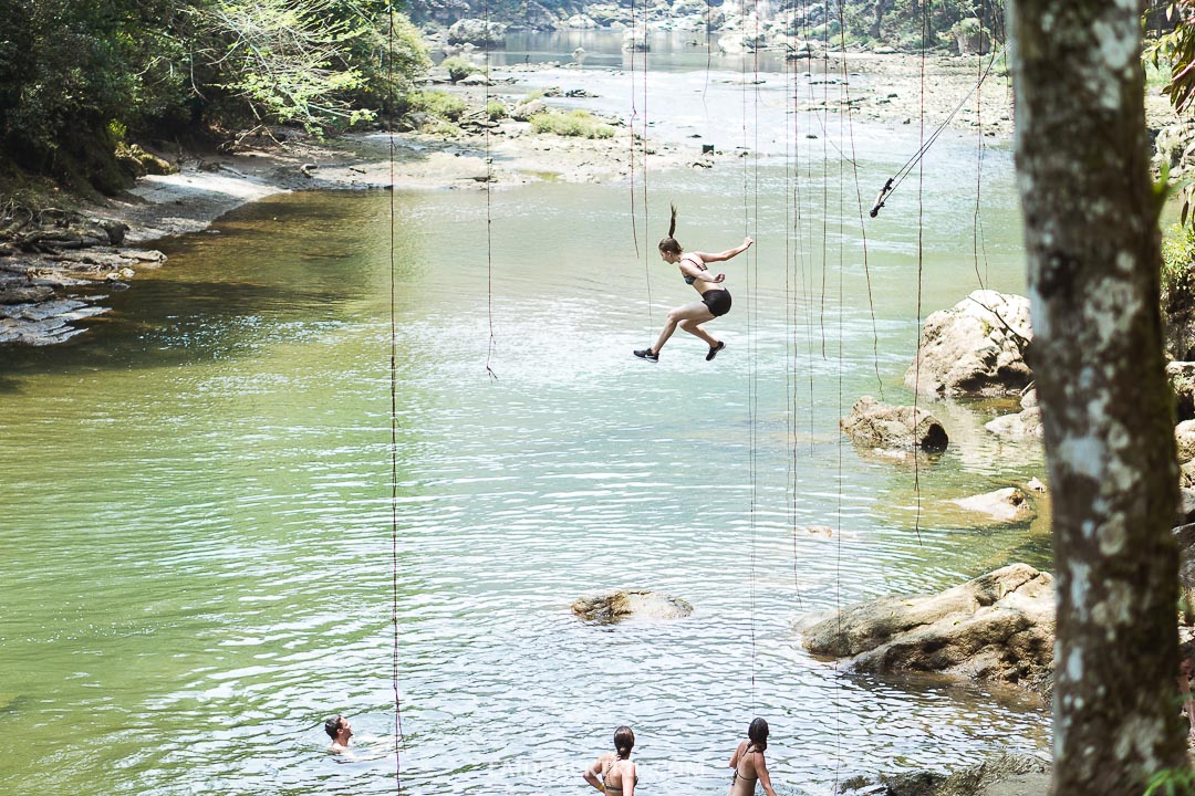 The swing to the river can be quite dangerous.