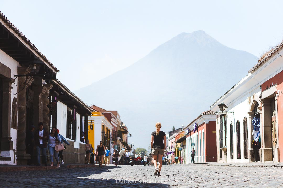 Walking around the town is a great way how to explore Antigua.