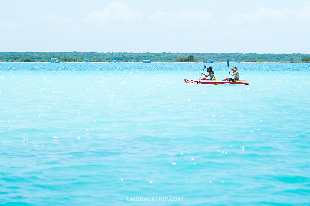 Kayaking on Bacalar lake is a fun outdoor activity to do.