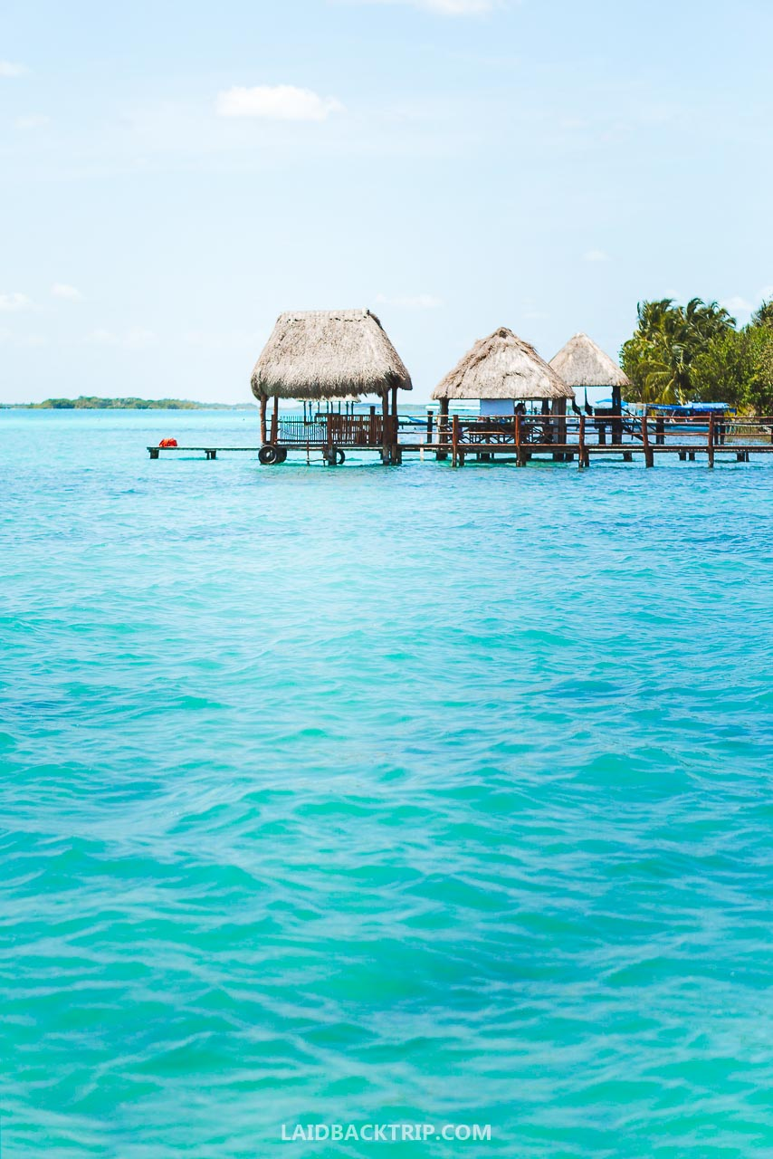 The blue color of Bacalar lake is breathtaking.