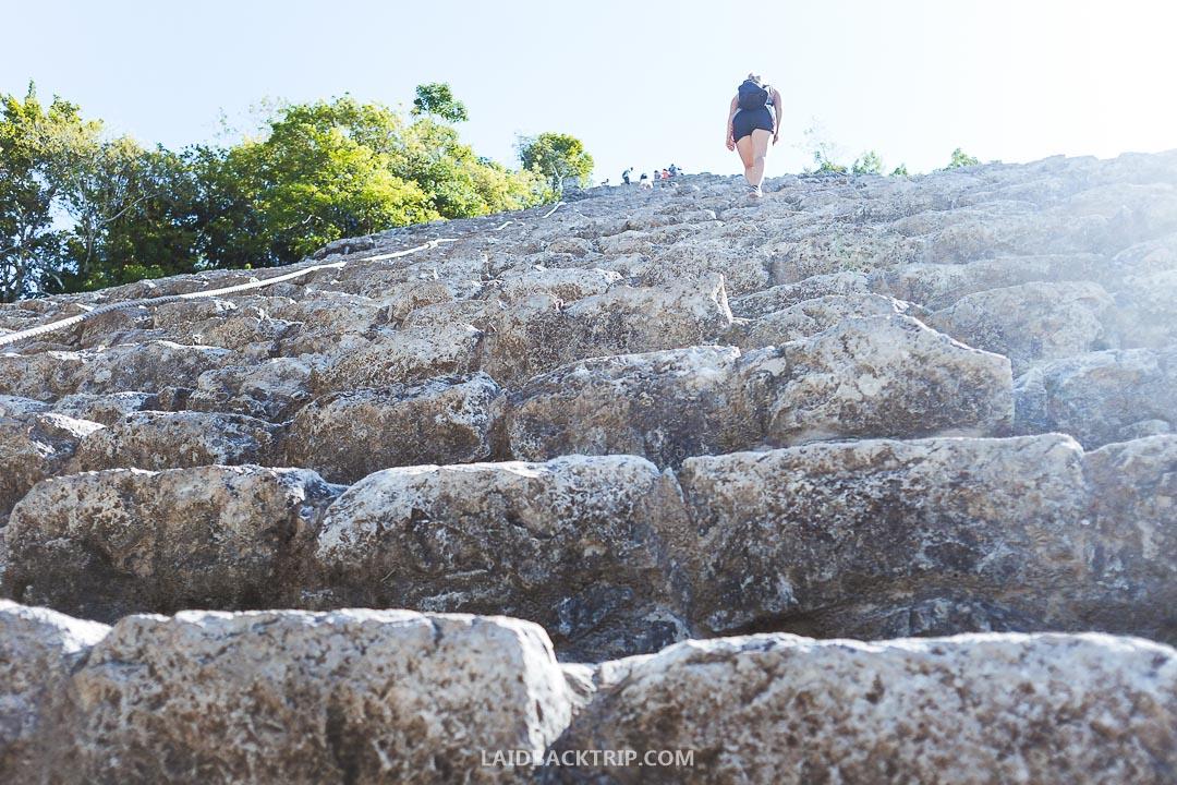 You can climb the Mayan pyramid in Coba.