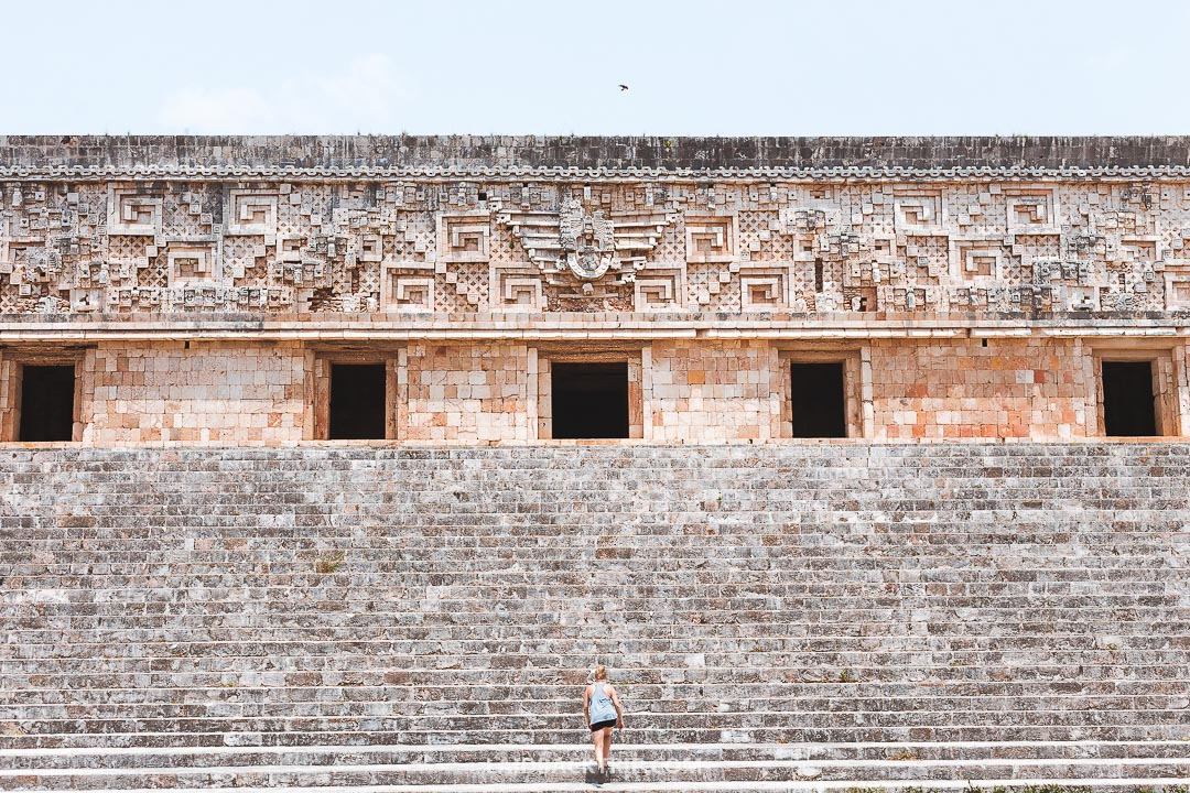 There are many beautiful Maya structures in the Uxmal complex.