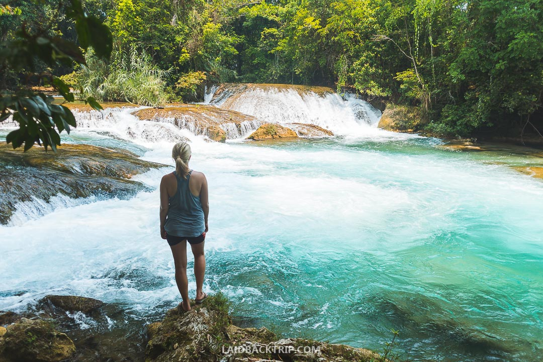 Agua Azul waterfalls in Mexico is a popular attraction among tourists and locals.