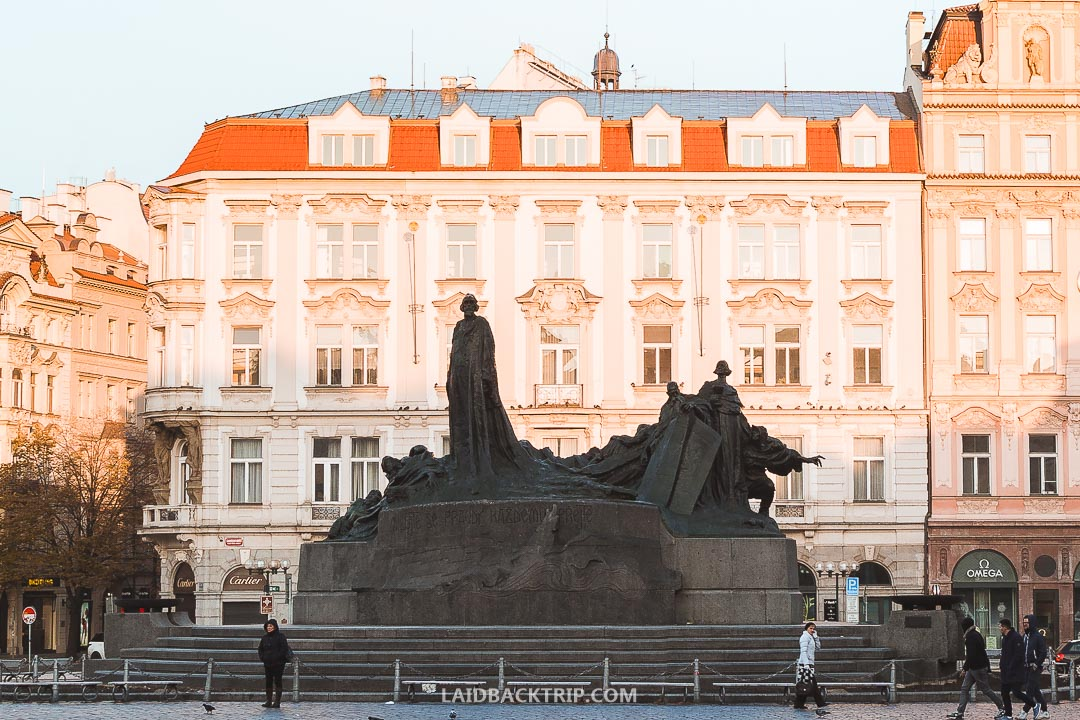 Jan Hus Memorial is a sculpture in the middle of Old Town Square.