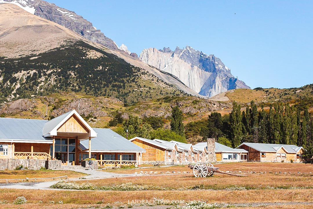 There is a pricey hotel at the entrance gate to the Torres del Paine National Park, Chile.