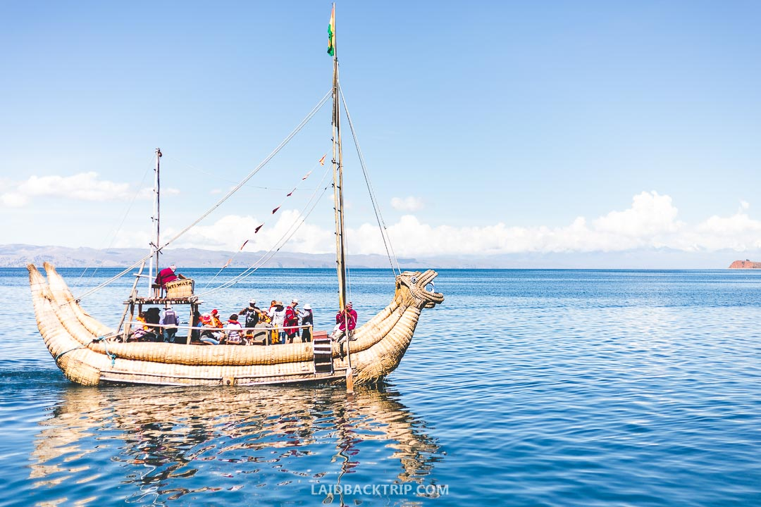 You can take a boat ride to Isla del Sol on Lake Titicaca.