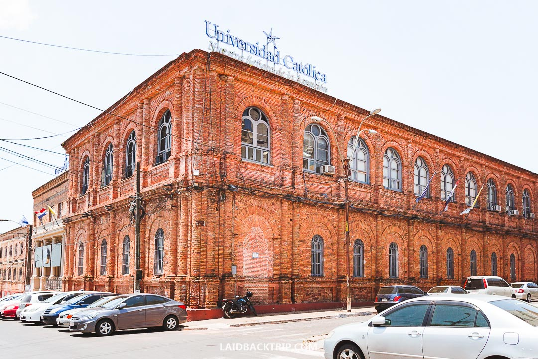 The red brick university is a beautiful building in Asuncion.