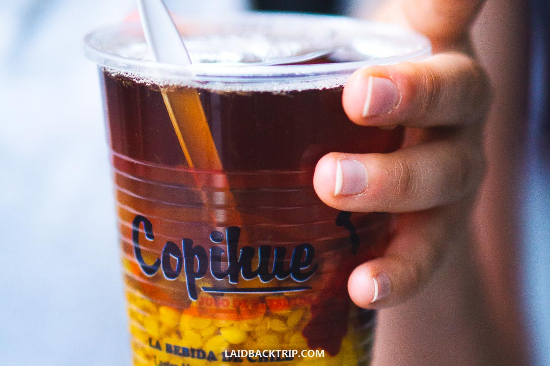 When wandering Santiago streets, try a traditional Chilean drink.