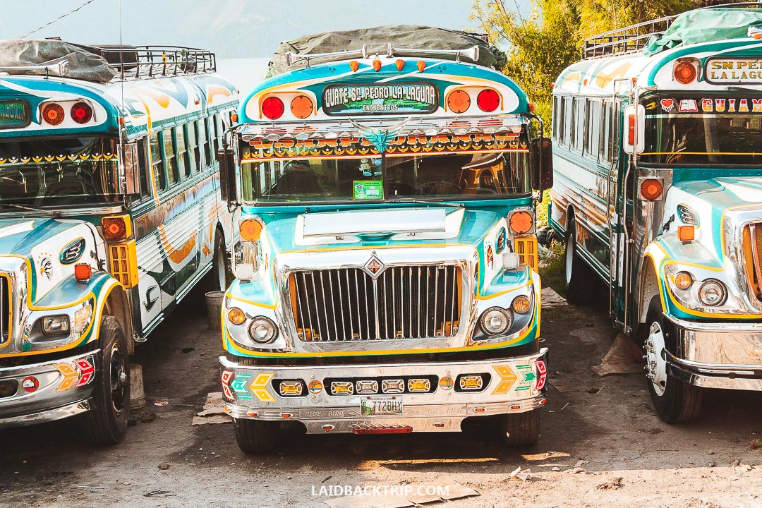 You can take a local chicken bus if traveling from town to town at Lake Atitlan.