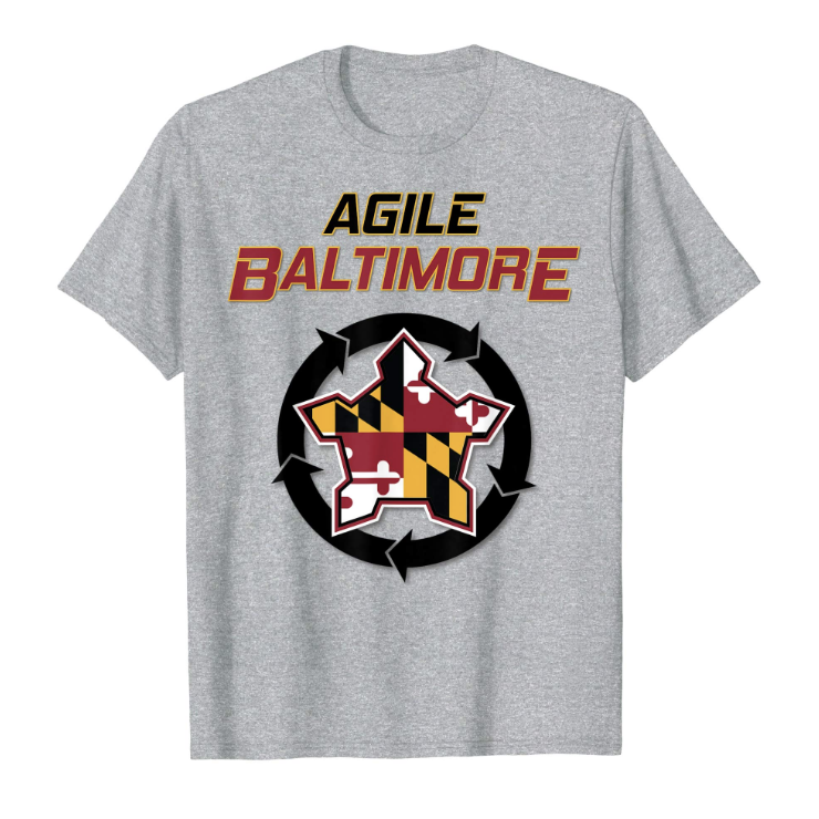 Agile Baltimore T-Shirt - Men, women, and kid sized and styles are available. Represent yourself at the next Agile Baltimore meetup event. Perfect for Scrum Masters, Agile Coaches, or Agile enthusiasts in the Baltimore area. Proceeds will go toward meetup expenses. (Free shipping with Prime)