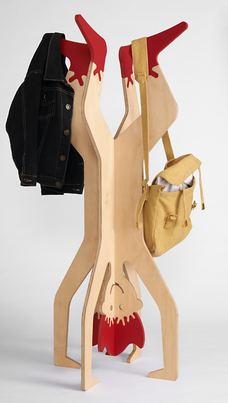 - Hangman is a fun and inviting coat stand for kids.Made in Melbourne from Australian Hoop Pine plywood and recycled plastic, a puzzle-like joining method allows the materials to connect without any use of adhesives.Hangman is an engaging way for parents to encourage their kids to hang up their clothes.