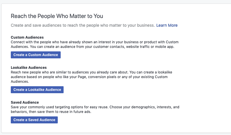 Then click 'Create A Custom Audience'