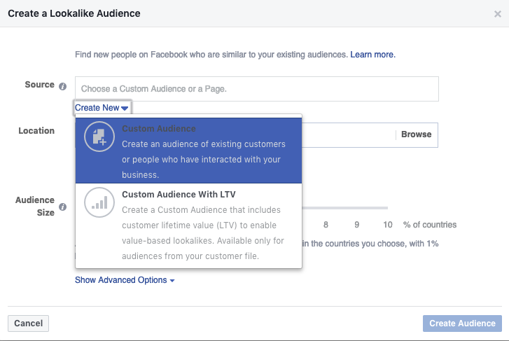 Navigate to the same 'Audiences' page as described above, then 'Create a Lookalike audience' to bring up this menu. Under source click 'Create New' and choose custom audience. It's the same process as described above for the custom audience - just choose Engagement > Instagram business profile. Set the Audience size to 1 and enter a location if relevant. Click create audience to save!