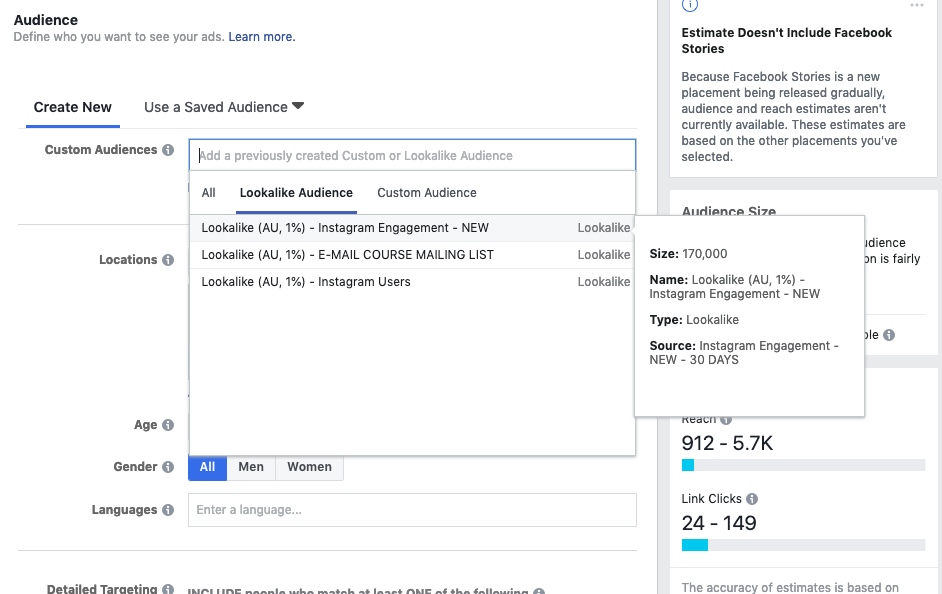 In the 'Audience' section of the create an ad tool simply click in the custom audiences field to bring up your saved audiences! Then you're done!
