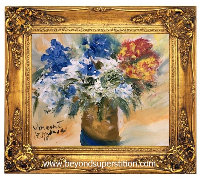 I was fortunate to win this beautiful (above) painting during the live auction. This painting was done in minutes through the entranced medium and the spirit artist was Vincent Van Gogh.