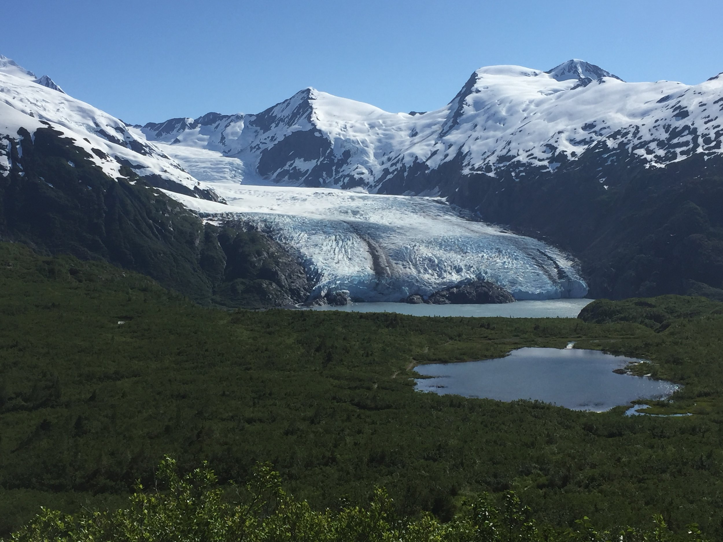 This is the view looking the other way towards Portage Glacier and Portage Lake from the Portage Pass Trail.