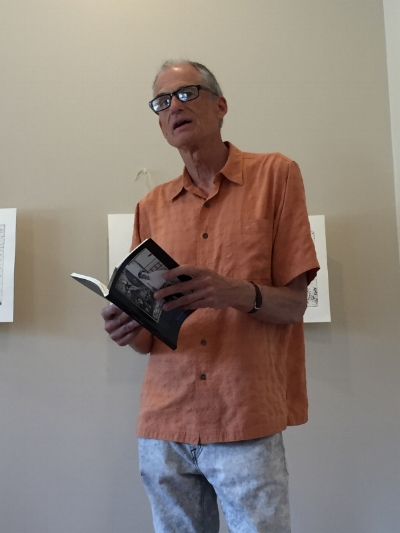 THE ARTIST READING FROM MICHAEL HANNON'S  FABLES , IN HONOR OF THE WILLIAM T. WILEY/HANNON EXHIBITION AT THE JARED DAWSON GALLERY, IN CARPINTERIA, CALIFORNIA, JUNE OF 2017
