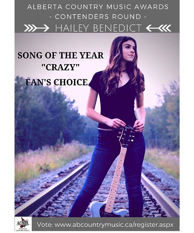 WOW!!! Feeling especially thankful this weekend after receiving the news that I am a contender for both Song of the Year (Crazy) & Fan's Choice in the 2018 Alberta Country Music Awards!! I am so lucky to be surrounded by such an amazing community of many talented friends and artists. It would mean so much to me if you could check out all the contenders & help vote! If you're a fan & would like to help vote, please sign up in the link in the bio! ($5 to become a fan member). The first round goes until Oct. 19th!  I appreciate your support more than you know and HAPPY THANKSGIVING! 😊💓 @acma_music • • • • • #crazy #thanksgiving #thankful #grateful #acma #music #singer #alberta #yeg #songwriter #baxter #guitar #electric #electricguitar #country #countrymusic #award #songoftheyear #fan #fanschoice #vote #linkinbio #sing #musician