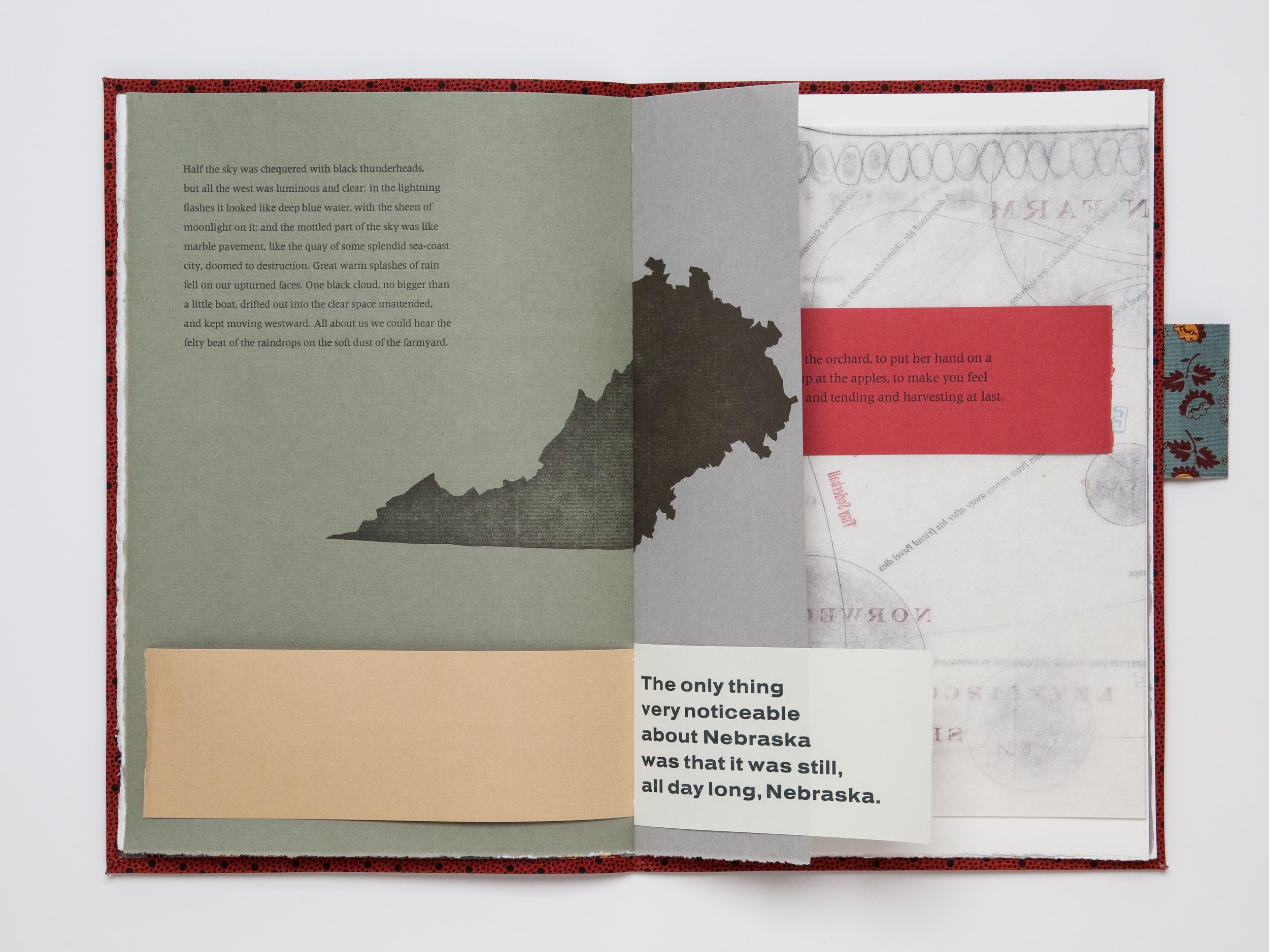 "Mining My Ántonia   (2012)   Book view.   11"" × 18"" open.   Cloth bound book of excerpted texts, printed letterpress from hand-set type.   Co-published by Hartford Art College and Triangular Press"
