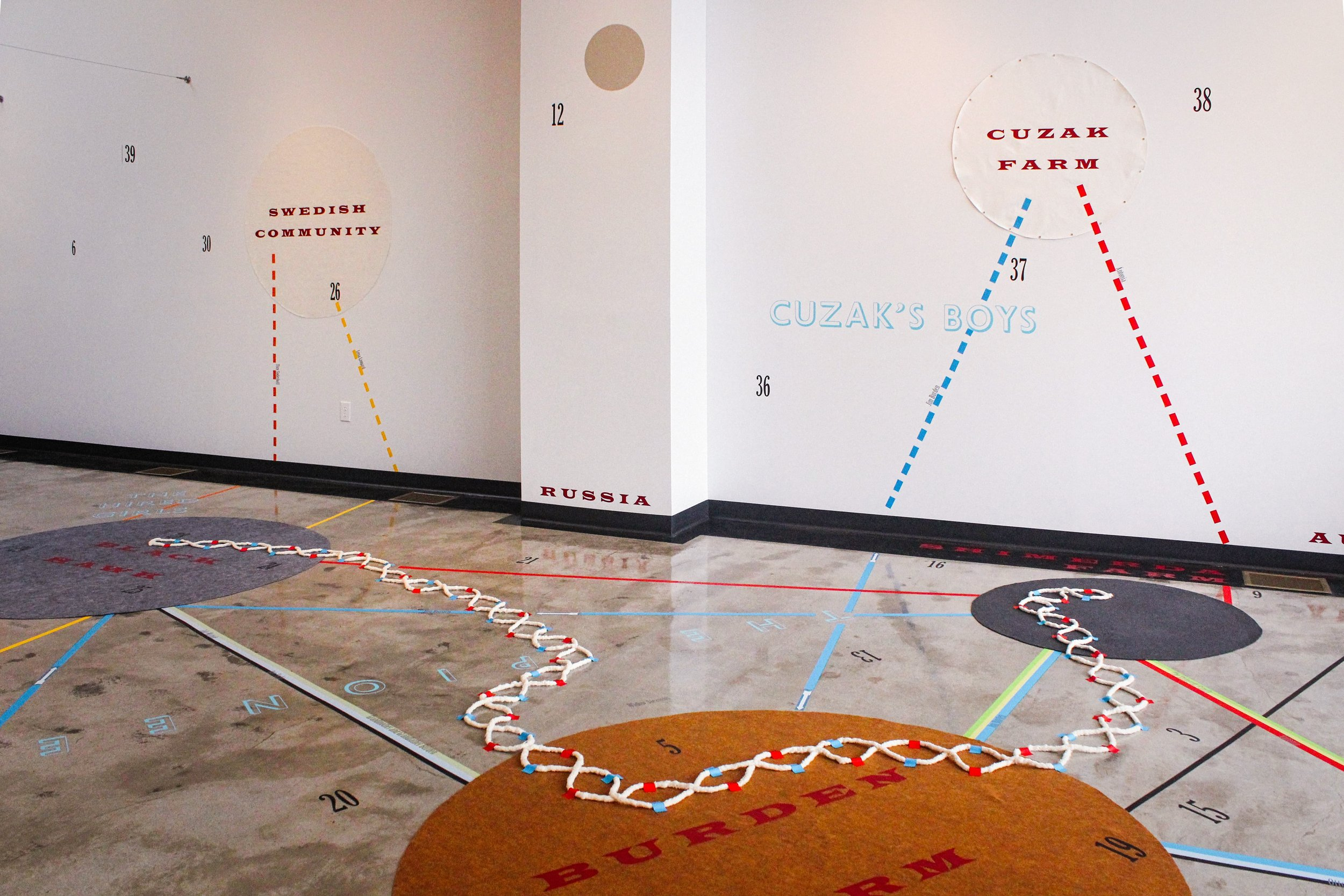 My Ántonia; Instructions for Seeing  (2015)   Installation.  50 × 50 ft.  Vinyl, felt and cotton cord.  Constellation Studios, Lincoln, NE