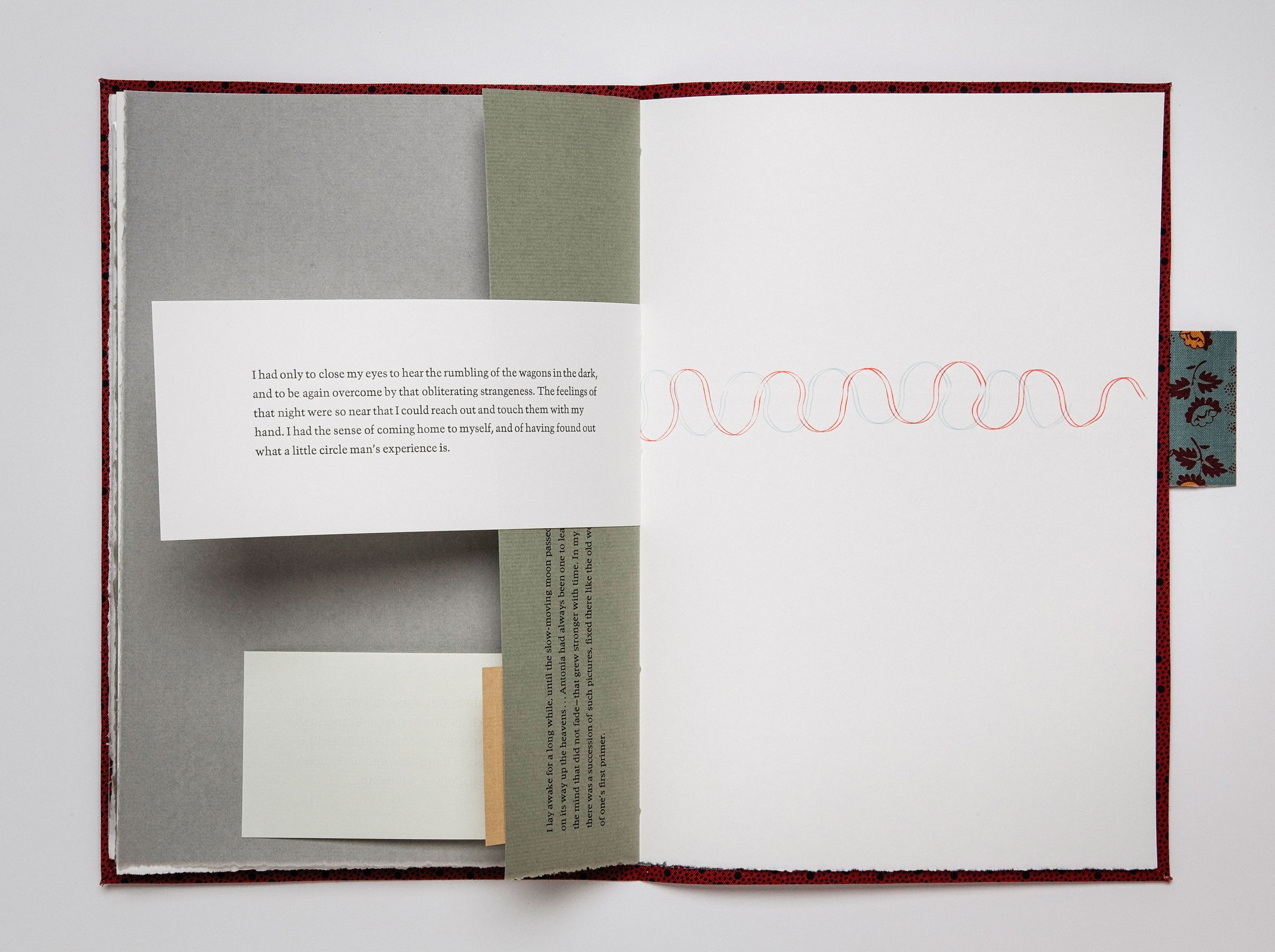 """Mining My Ántonia  (2012)  Book view.  11"""" × 18"""" open.  Cloth bound book of excerpted texts, printed letterpress from hand-set type.  Co-published by Hartford Art College and Triangular Press"""