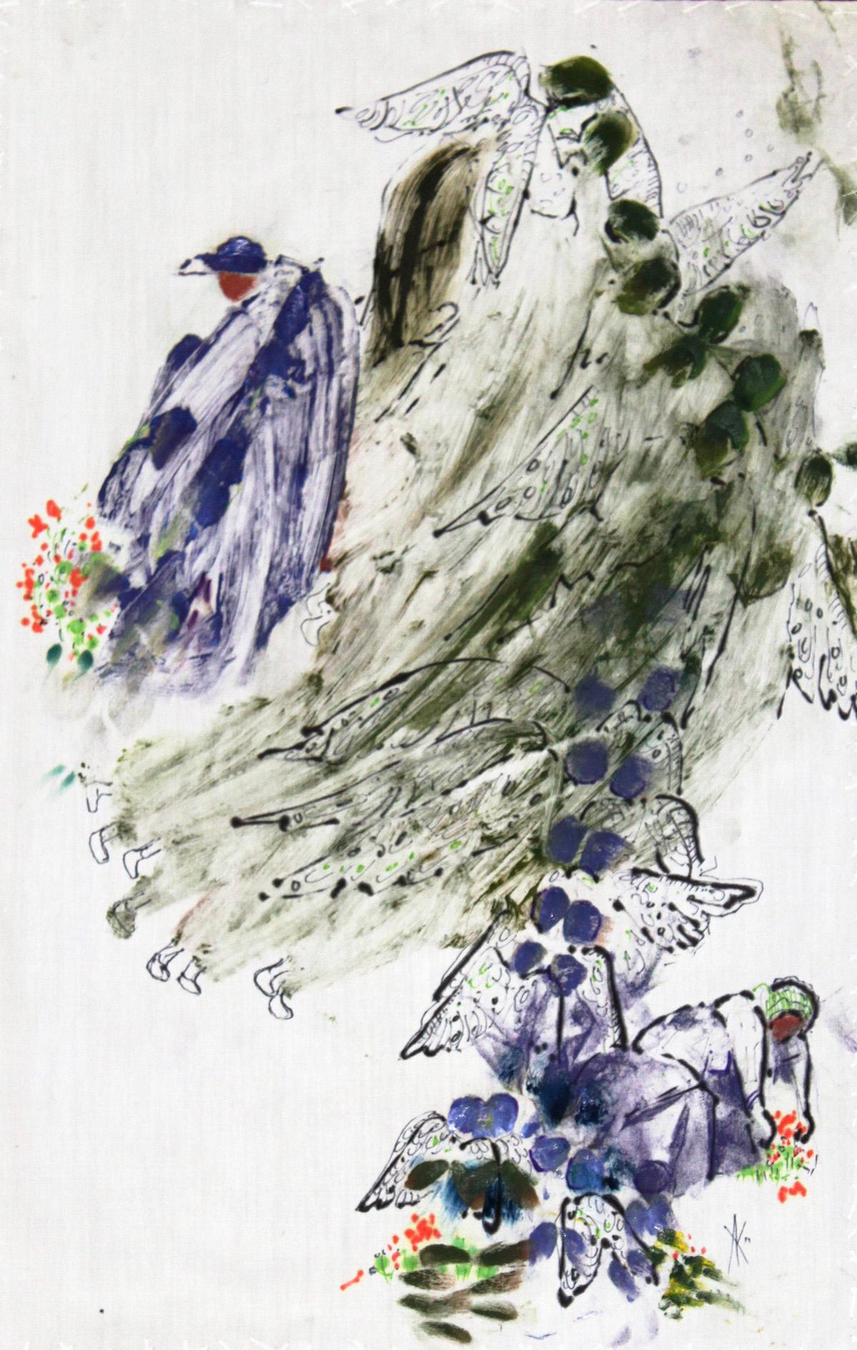 TITLE:  Angels garden  MEDIUM: Mixed media on cotton DIMENSIONS: H43 x W27cm  FRAMED