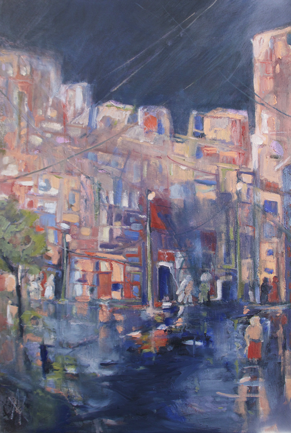 TITLE:  Wet night in L'Viv  MEDIUM: Oil on canvas DIMENSIONS: H91 x W61cm