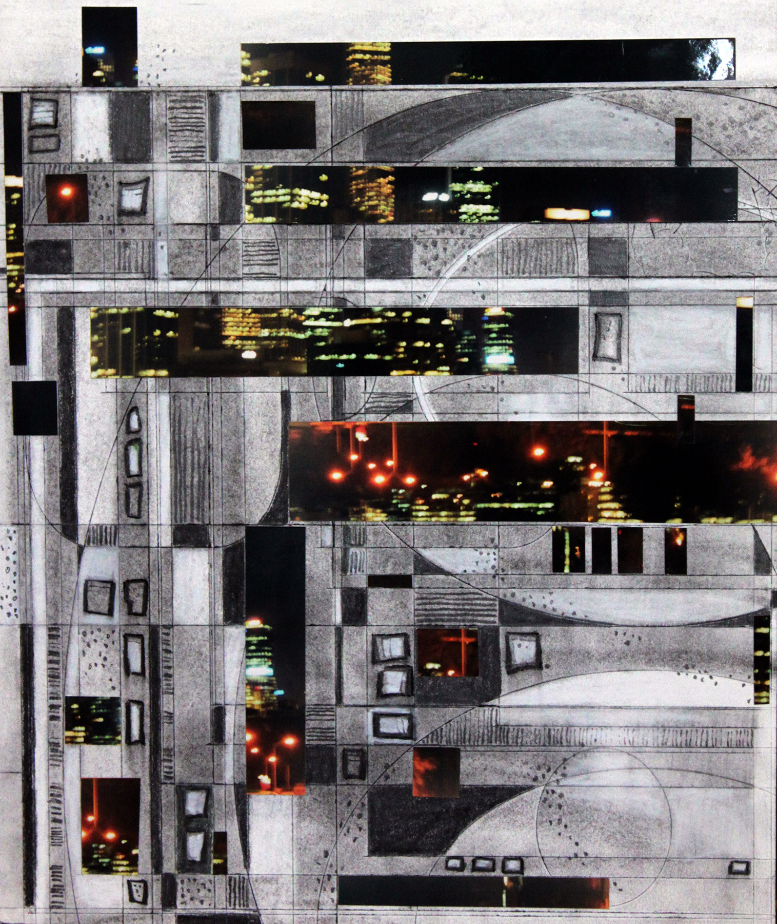 TITLE: A night in the city  MEDIUM: Collage and drawing DIMENSIONS: H51 x W44cm  FRAMED