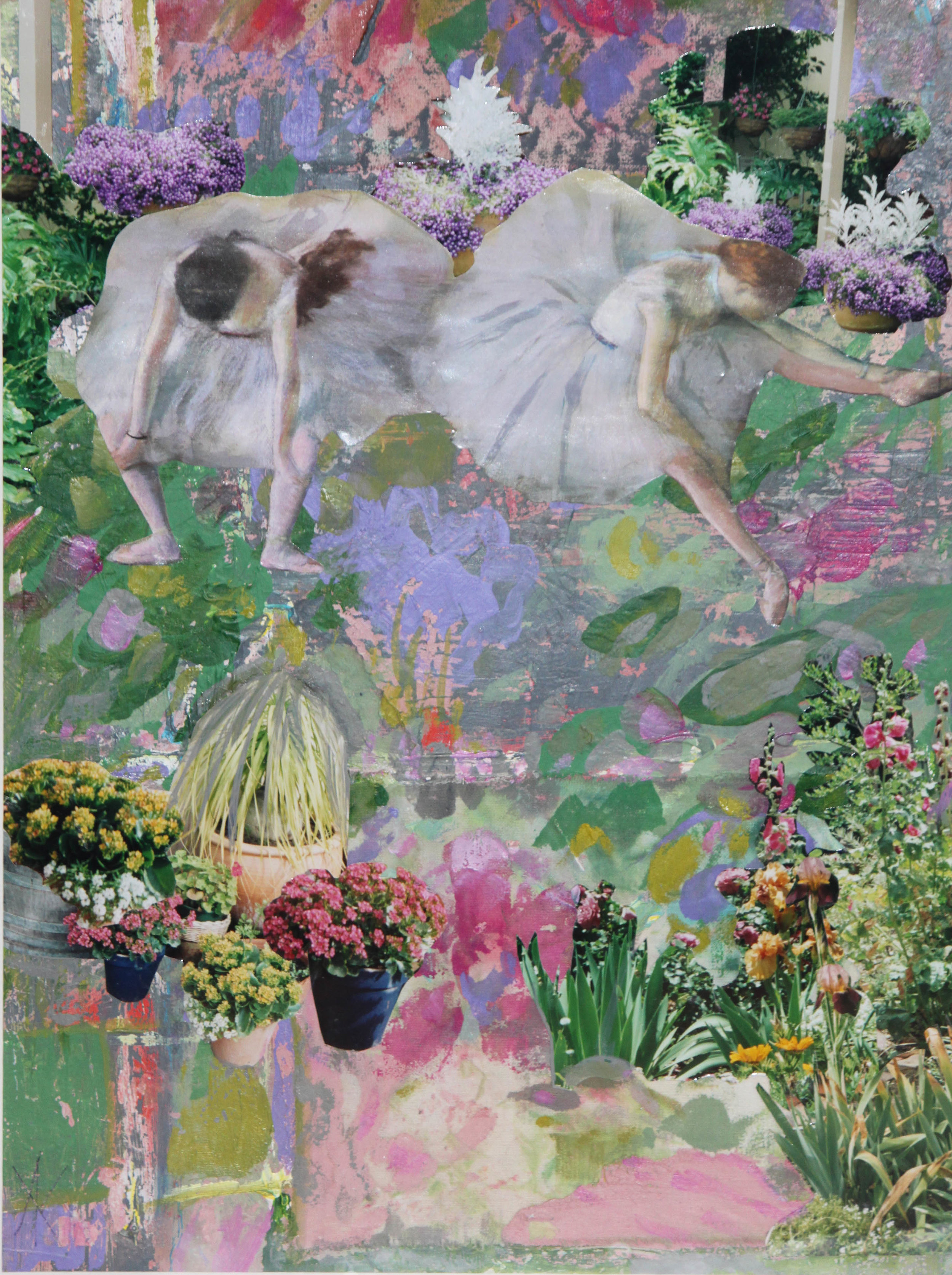 TITLE:  Degas's garden 1  MEDIUM: Acrylic paint and collage on paper DIMENSIONS: H59 x W49cm  FRAMED