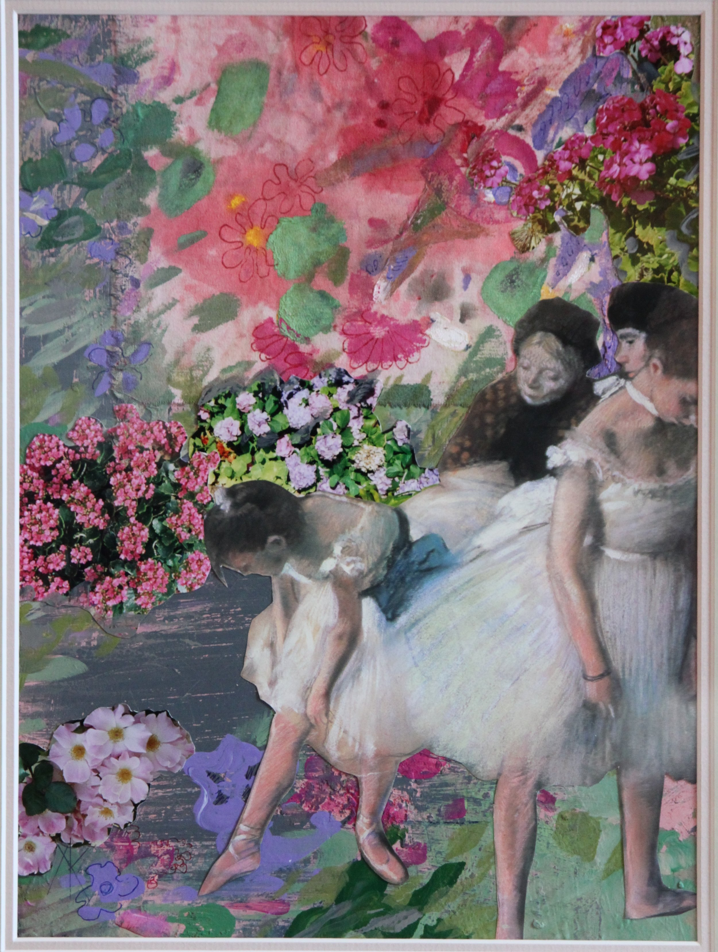 TITLE:  Degas's garden 3  MEDIUM: Acrylic paint and collage on paper DIMENSIONS: H59 x W49cm  FRAMED