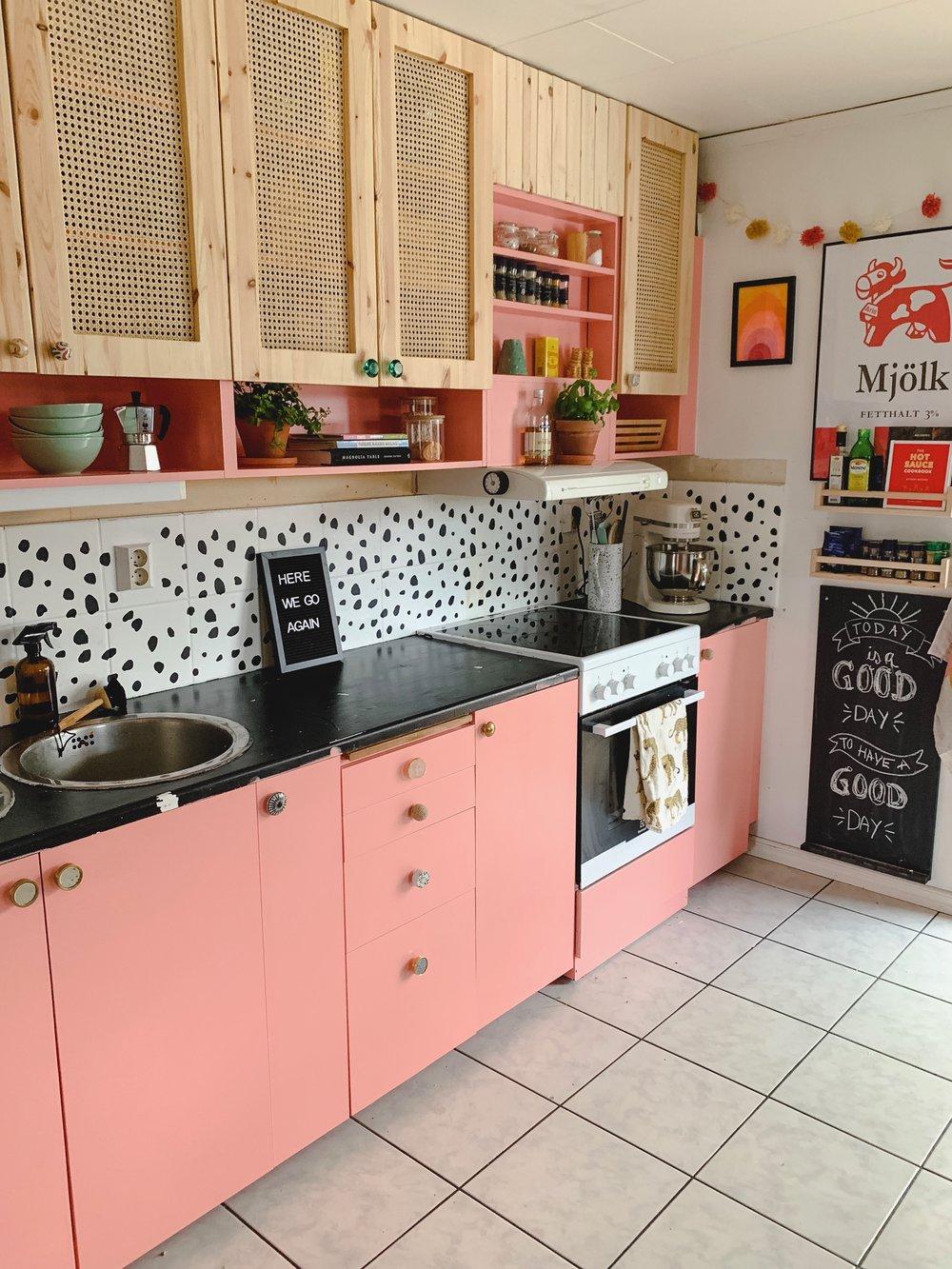 DIY Rattan Kitchen Cabinet Door