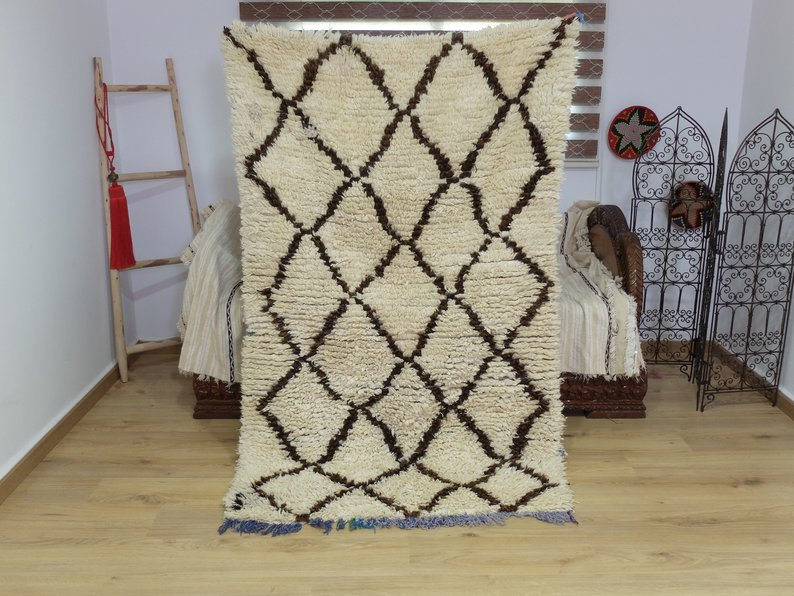 Vintage Beniourain Rug Hand Woven by Berber /Berber Carpets
