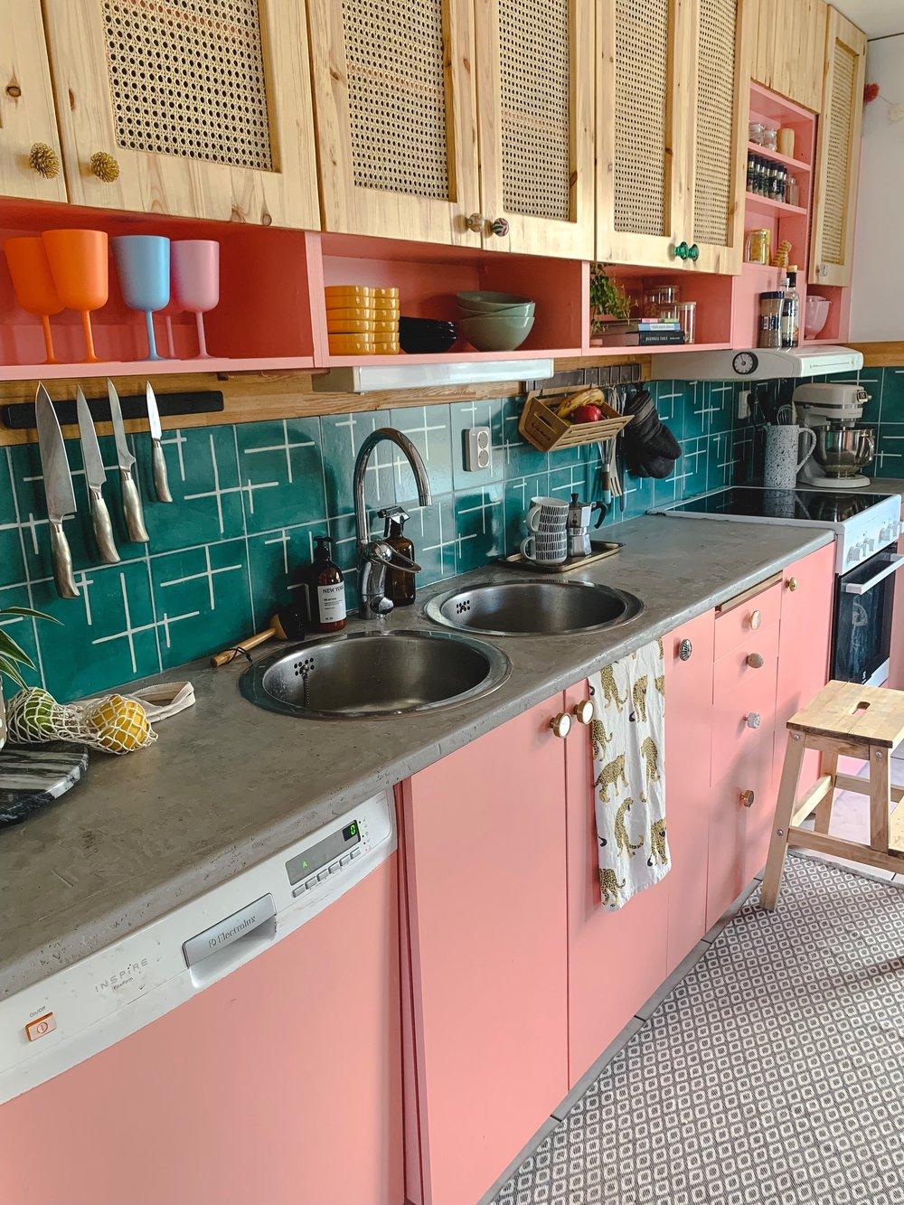 Tiled backsplash with tiles from Popham Design via Marrakech Designs