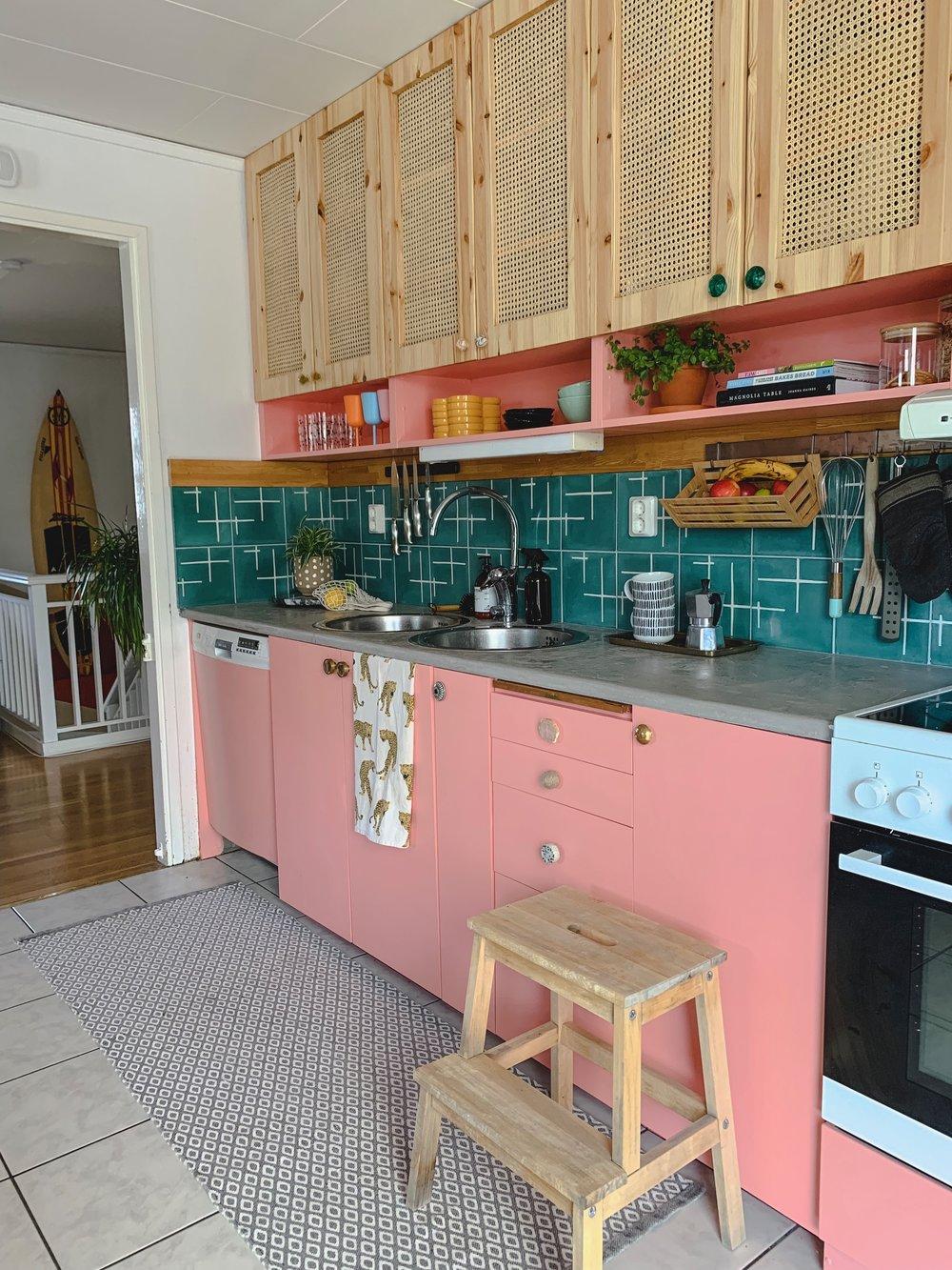 Pink Kitchen DIY with concrete overlay & tiled backsplash