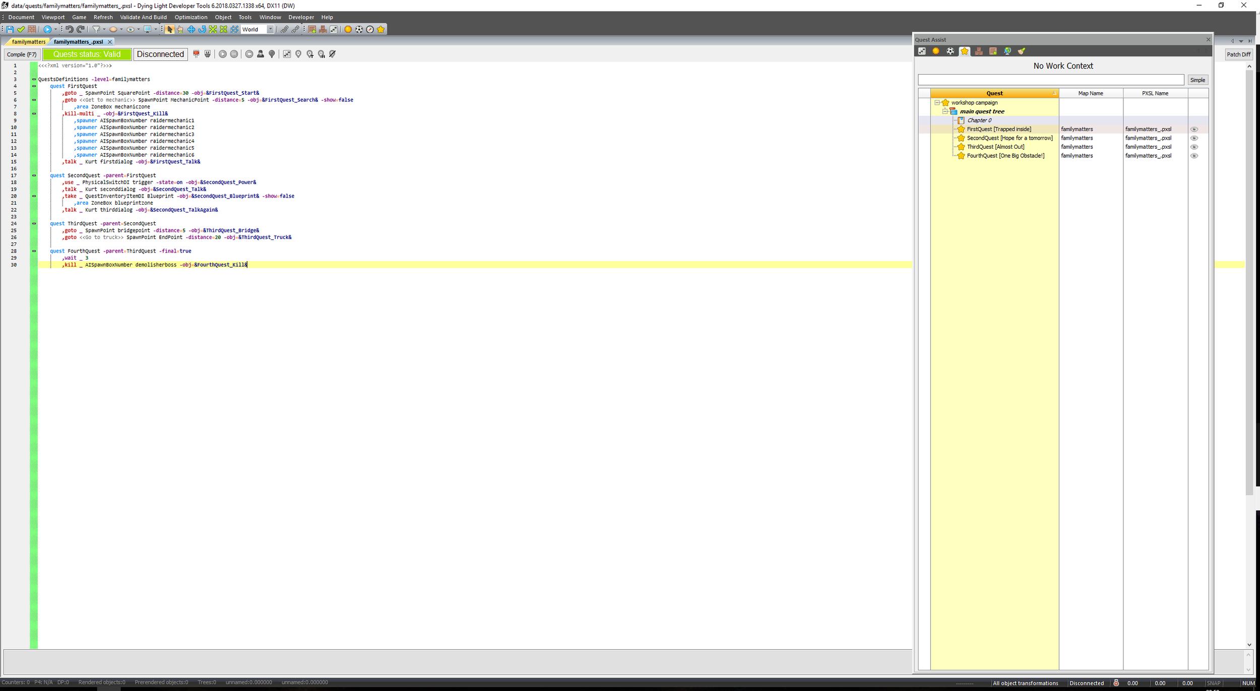 Scripting the quests in PSXL