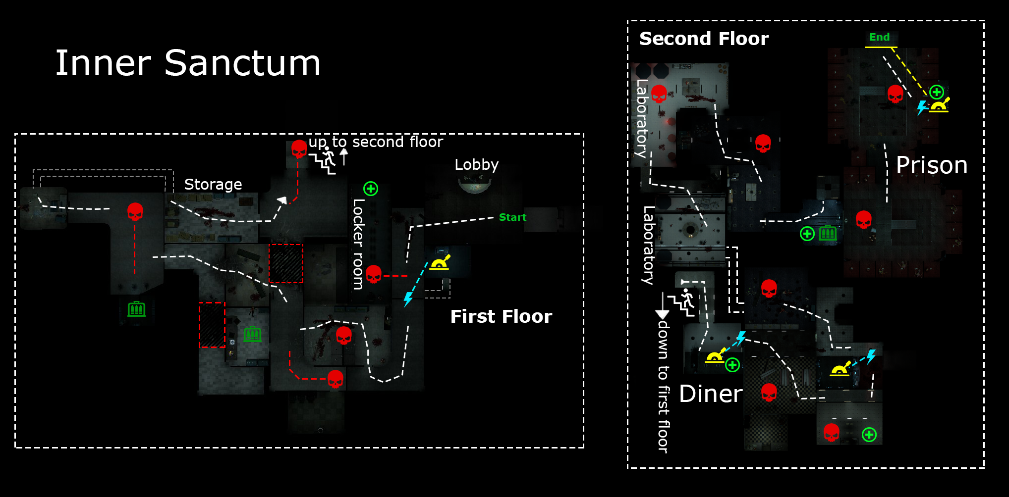 Top-down of the two floors