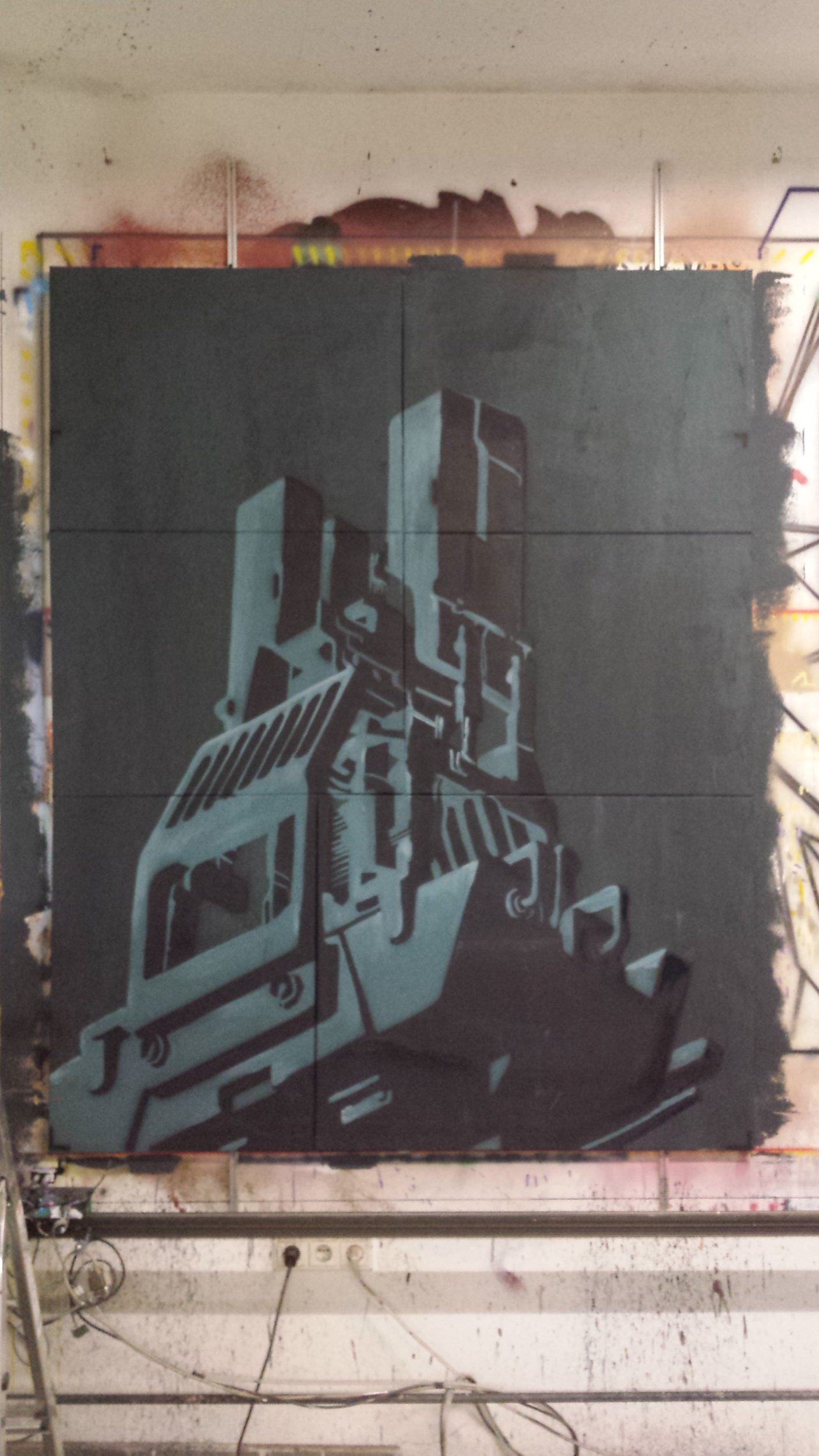 "Titel: ""BEEPLE"" - Gouache and Acrylic Spraypaint on Canvas 1,5 x 2 m"