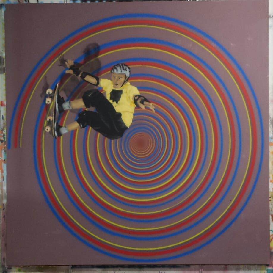 "Titel: ""Tony Hawk"" - Gouache and Acrylic Spraypaint on canvas 2 x 2 m"