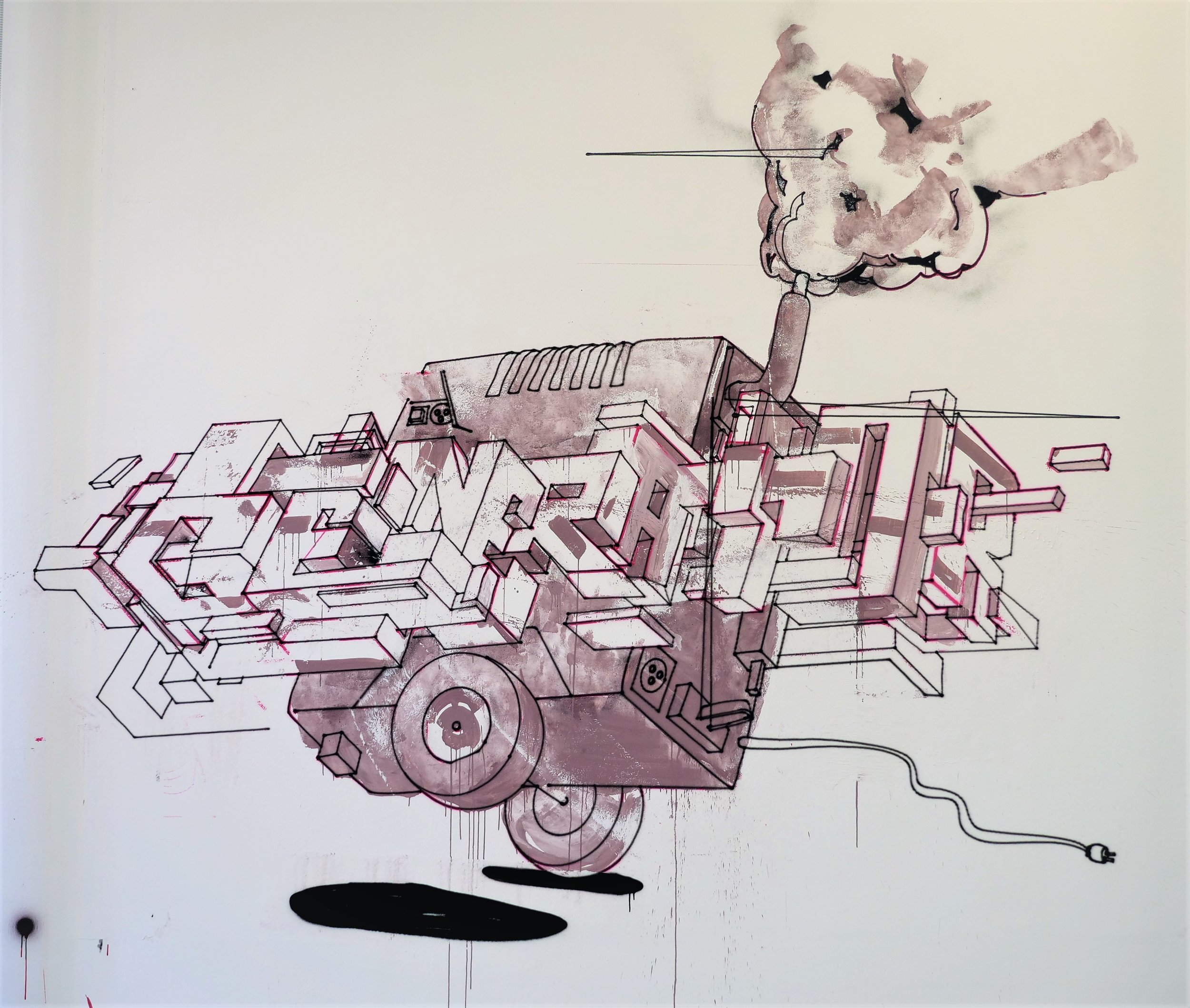 "Titel: ""Generator"" - Gouache Acrylic Wall Paint and Acrylic Spraypaint on a wall at Sprengel Museum Hannover 4x4 m"