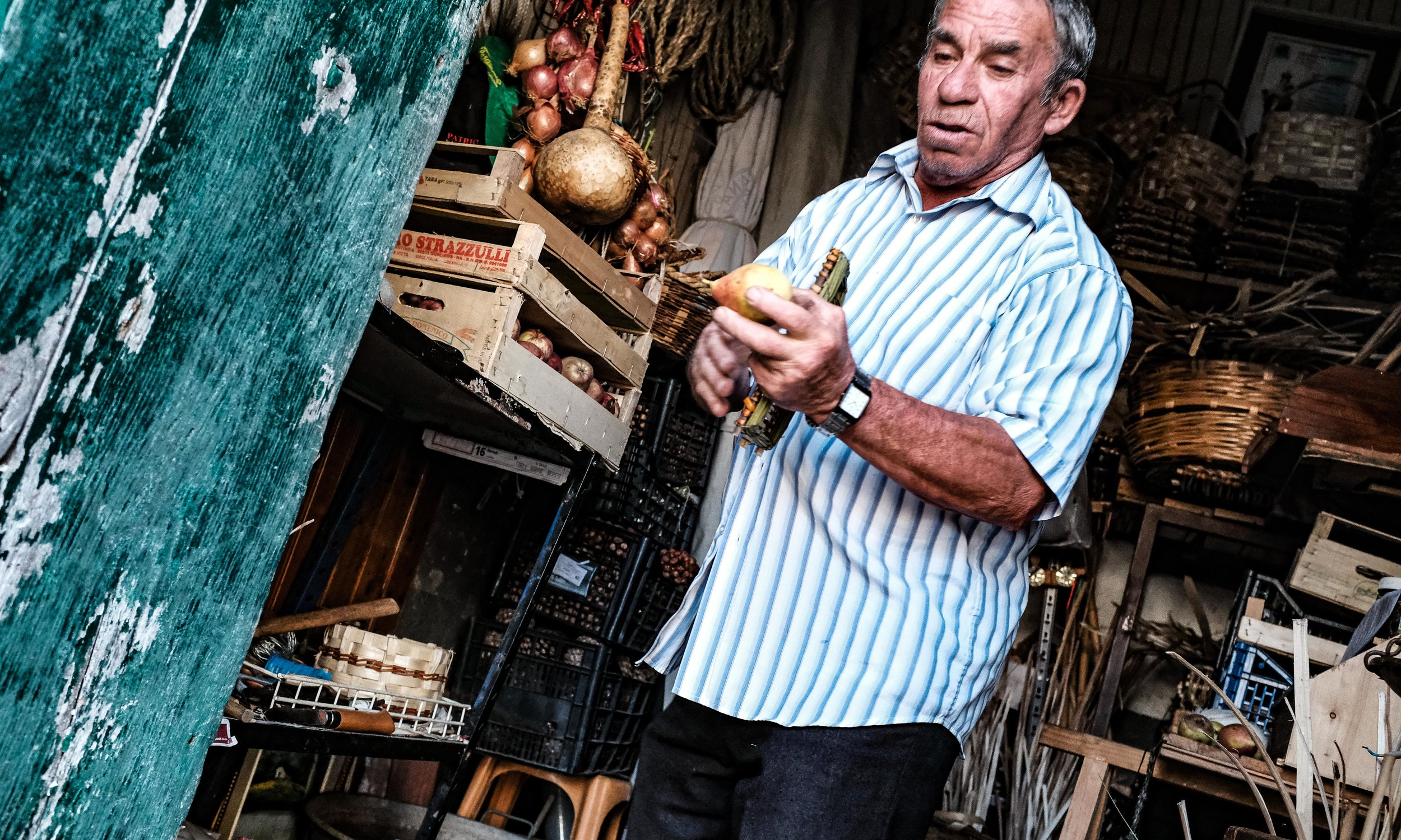 Giuseppe (aka Peppo) in his wee shop in Omignano paese