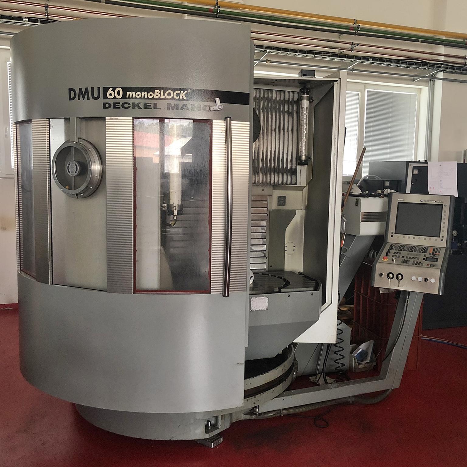 Deckel Maho DMU60 - 5-osé frézovací centrumpracovní rozsah: x=730mm; y=560mm; z=560mmotáčky vřetena 12 000 ot./min.řídící systém Heidenhain iTNC530