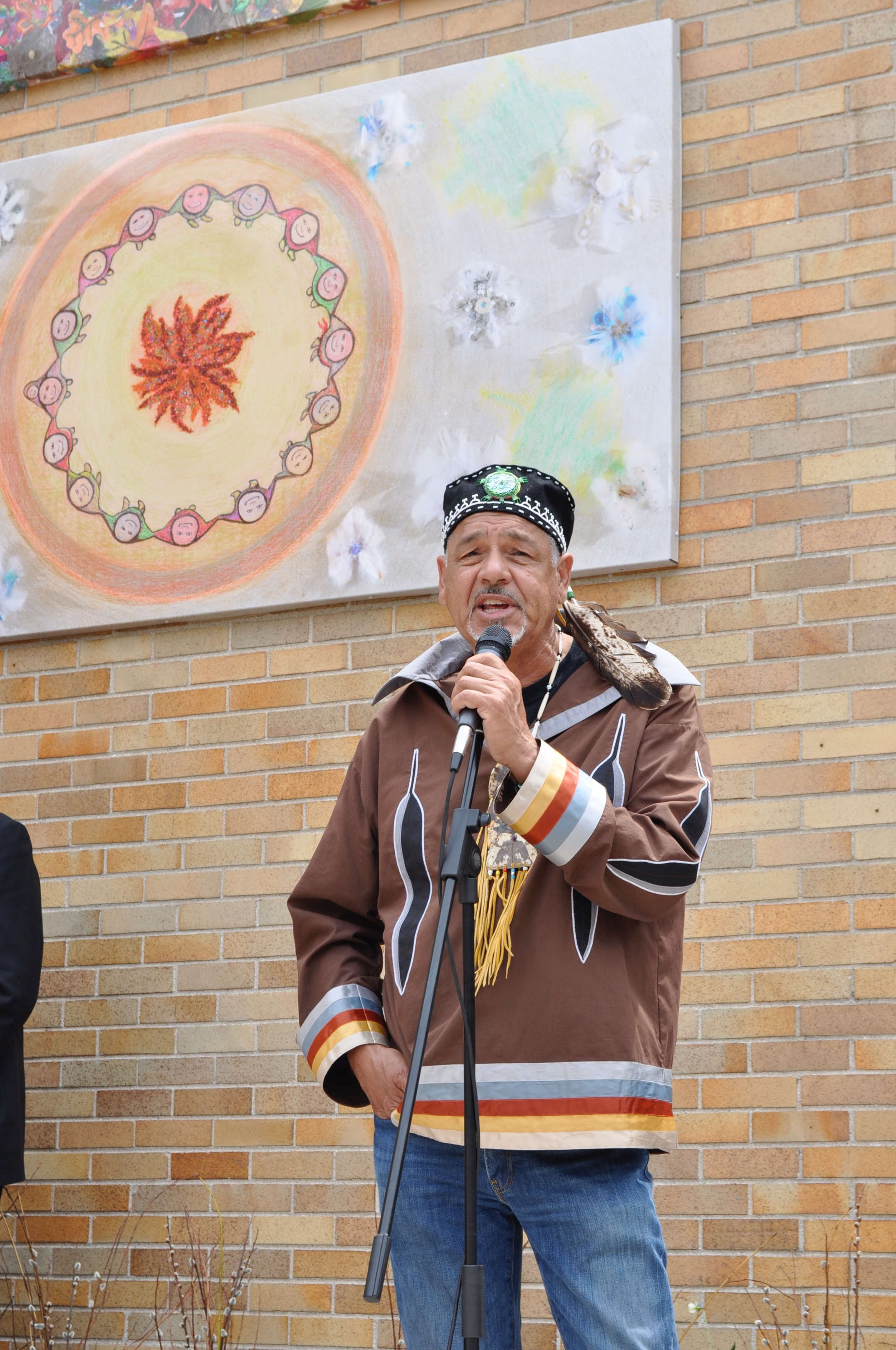 Elder Albert Dumont - Algonquin Spiritual Advisor and artist, engaged Pleasant Park School students in creating a four-panel mural representing the four seasons. His contribution helped us create a lasting symbol of unity in our home community.