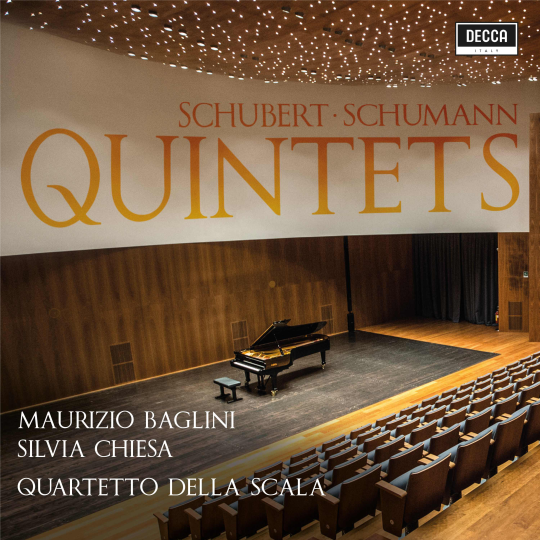 SCHUBERT - SCHUMANN: QUINTETS  Live at Amiata Piano Festival Quintetto op. 163 D 956 in do magg. | Quintetto per pianoforte e archi in mi b. magg.op. 44 Baglini | Chiesa | Quartetto della Scala 2018 Decca UPC 00028948173211  recensioni  |  reviews
