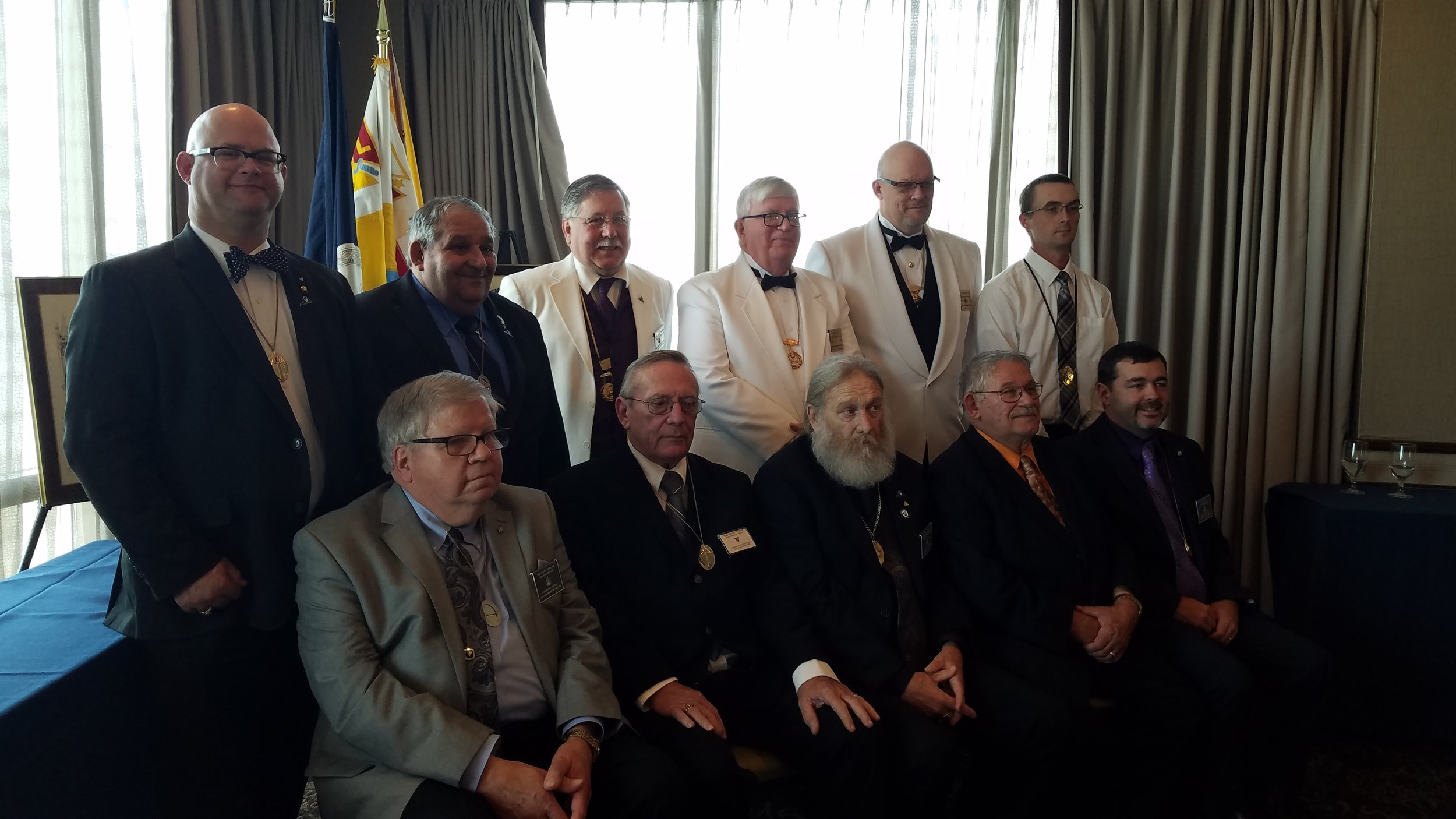 New 2019 Grand lodge officers for Virginia Grand Lodge, Knights of Pythias. Sitting L to R: Grand Sec. Sir Al Sims, PGC Steve Marquardt, sitting in for Grand Vice Chancellor Jeff Mohler, Grand Chancellor Zeke Reynolds, Grand Prelate Mike Benedict and Grand Treasurer Lyle Joyner. Standing- Grand Outer Raymond Jordan, Grand Master of Arms Mike Morad, Installing Officers- Supreme Rep Mike Thornton, Supreme Master of Arms Mark Ward, Supreme Prelate Mark Mead and Grand Inner Guard Josh Tabor. They were installed at GL convention Oct 13 in Virginia Beach, VA.