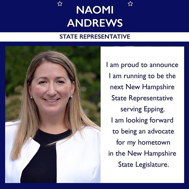 I am proud to announce I am running for State Representative. This community helped educate me and shape my values, and I want to give back by advocating for the people of Epping in the New Hampshire State Legislature. #nhpolitics