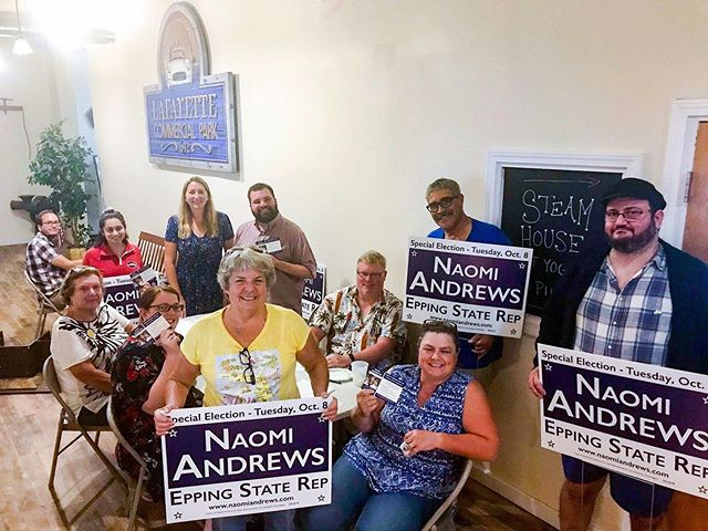 I had a great night with this dedicated group of volunteers and friends who helped write hundreds of postcards! Check your mailbox soon 📬  Please remember to vote in the primary on August 20th and the special election on October 8!  #nhpolitics #nhhouse