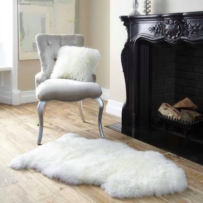 White Faux Fur Rug / #013 / $20