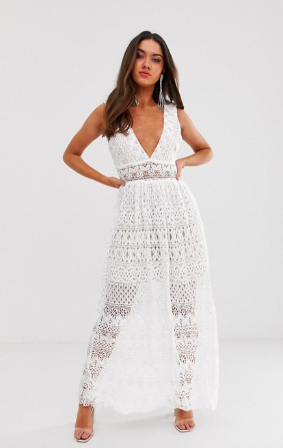 ASOS - Love Triangle plunge front delicate lace maxi dress